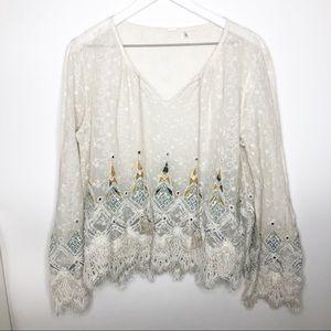 Elie Tahari Blouse Imelda Embellished Boho Mirror